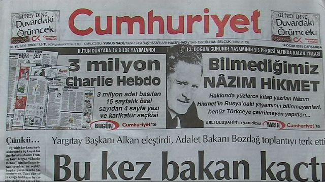 تركيا: انتقادات لصحيفة تركية تنشر مقتطفات من رسومات شارلي ايبدو