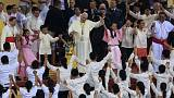Near-record numbers at open-air mass led by the Pope in Manila