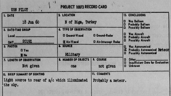 Amerikan UFO belgelerinde Türkiye
