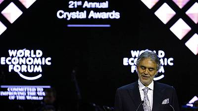 Opera star Andrea Bocelli is honoured at World Economic Forum in Davos