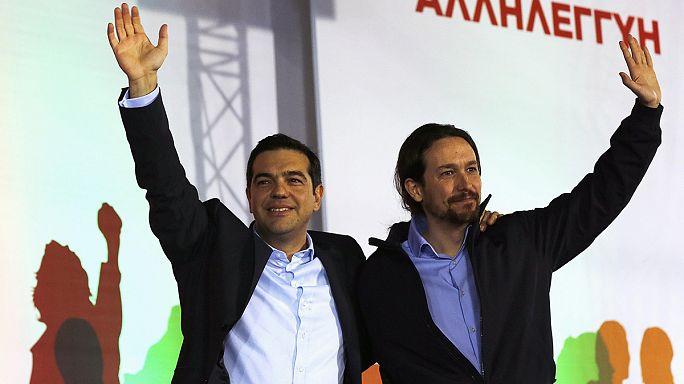 A spanyol Podemos vezetője jelenlétével támogatta a Szirizát