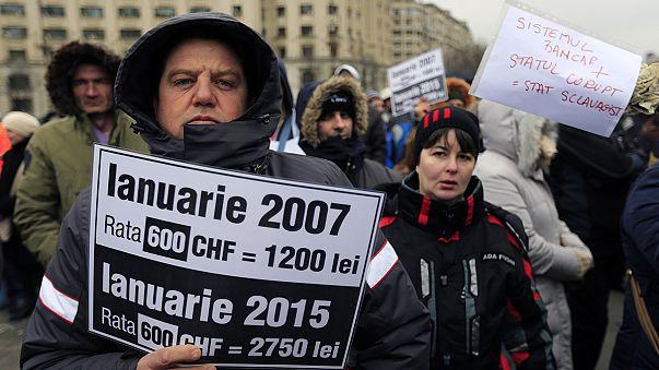 Schweizer Frankenfreigabe: Demo in Rumänien