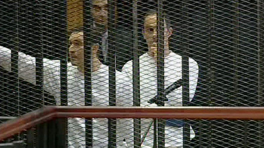 Mubarak sons walk free from jail after Egypt marks revolution anniversary