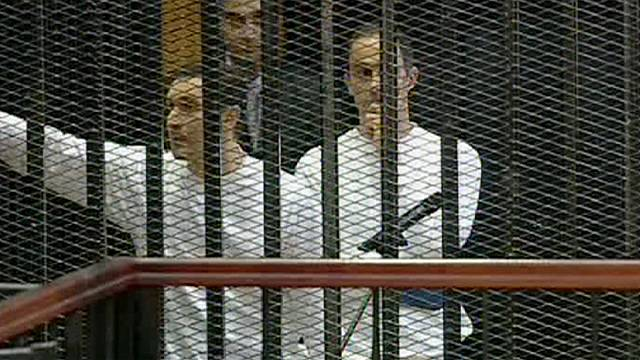 Mubarak sons walk free from jail after Egypt marks revolution anniversary