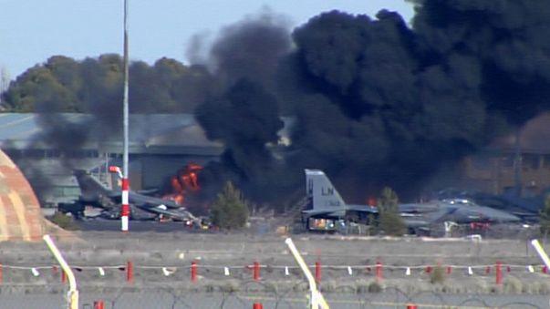 سقوط هواپیمای اف ۱۶ در اسپانیا ۱۰کشته برجا گذاشت