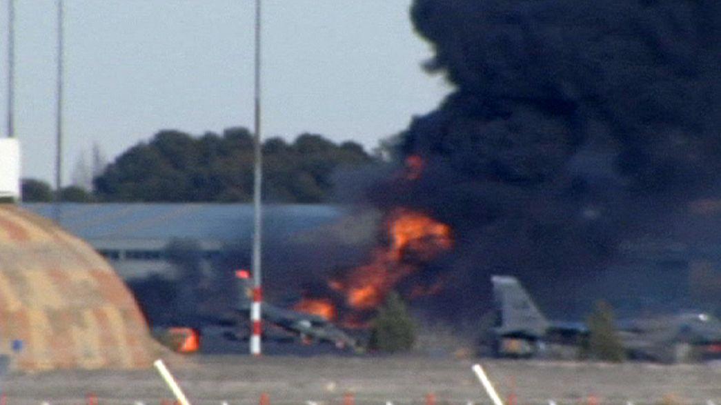 Spagna, si continua a cercare le cause dell'incidente all'F-16 greco. Unidici le vittime