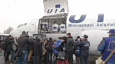 Displaced Ukrainians receive planeload of EU aid, more to follow