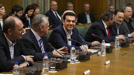 PM Alexis Tsipras tells first cabinet meeting: 'Greece will not default'