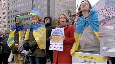 Ukrainian expats rally for tougher EU sanctions