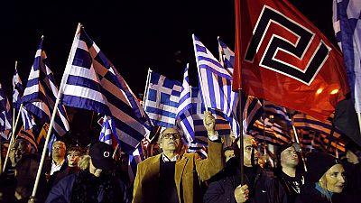 Rassemblement d'Aube Dorée à Athènes