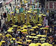 Hong Kong 'umbrella' revolutionists return for peaceful rally