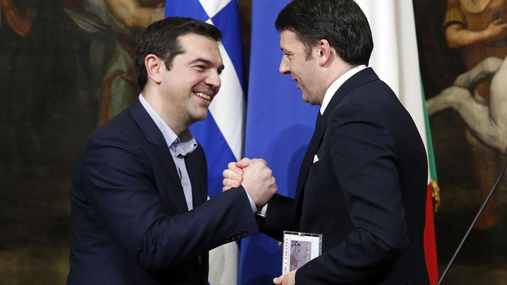 İtalya Başbakanı Renzi'den Çipras'a sıcak karşılama