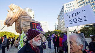 """Демонстранты в Брюсселе изобразили """"троянским конем"""" торговое соглашение ЕС-США"""