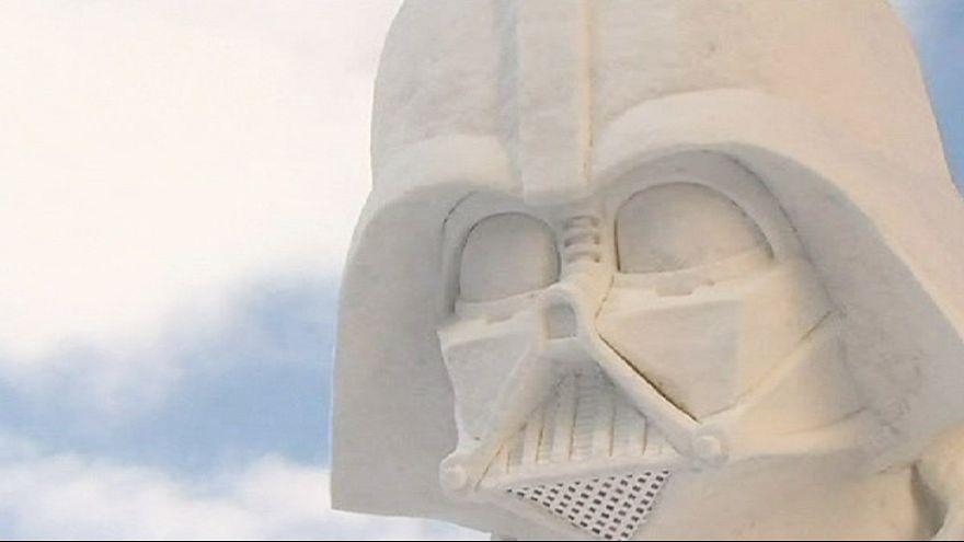 Star Wars sculptures capture audience at Hokkaido snow festival