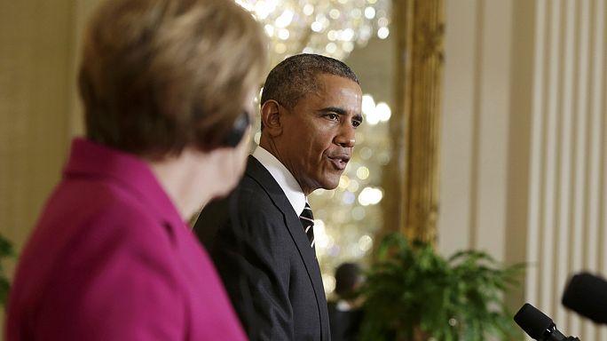 Merkel-Obama találkozó: Washington még nem döntött Ukrajna katonai támogatásáról