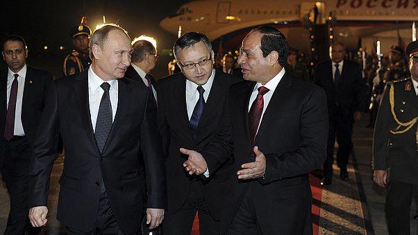 Putin blames West for Ukraine crisis during trade visit to Egypt