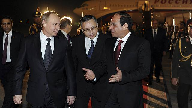 Putin blames West for Ukraine crisis during trade visit to Egypt