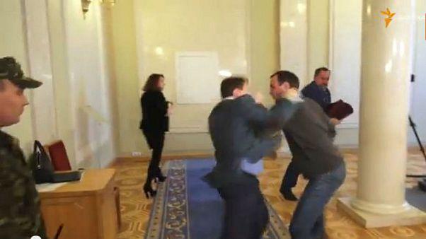Watch: Ukraine MPs in fierce fist fight outside parliament