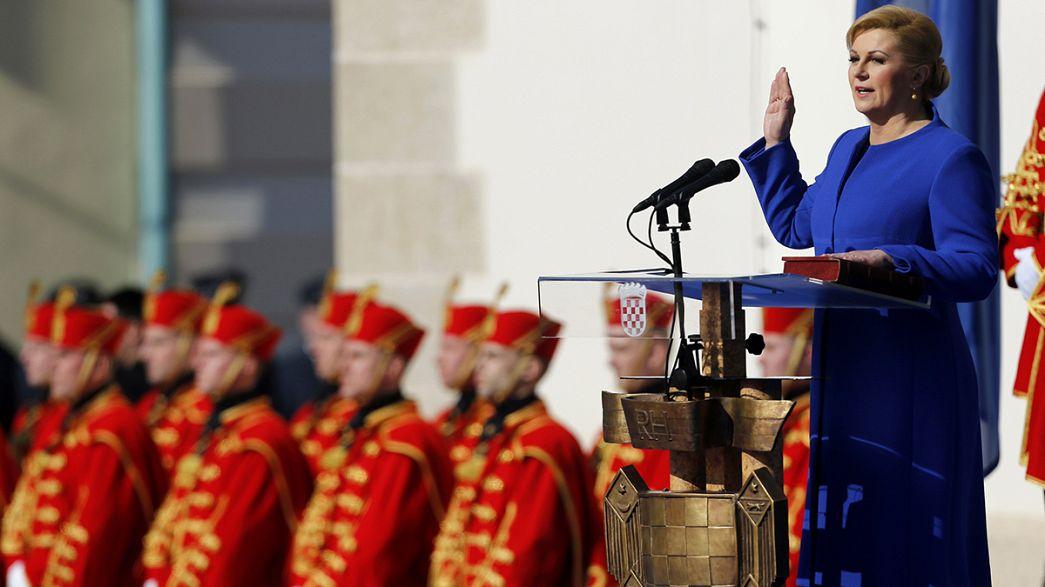 Hırvatistan'ın ilk kadın cumhurbaşkanı Kitaroviç yemin etti