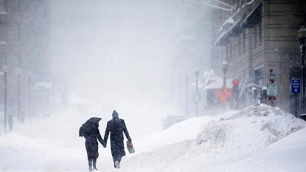 Winter storms freeze the northeastern United States