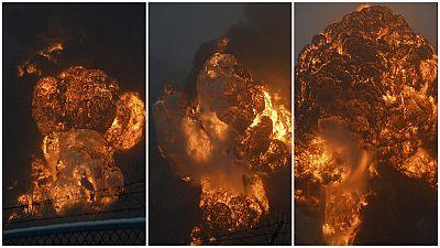 Augenzeugen filmen Explosion eines Rohölzugs in Virginia