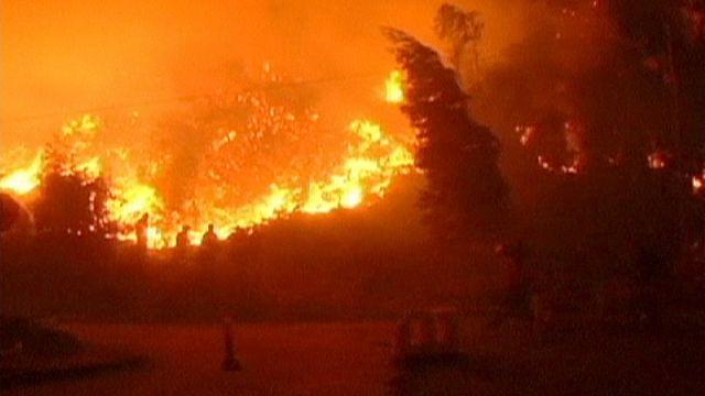 Лесные пожары на юге Чили