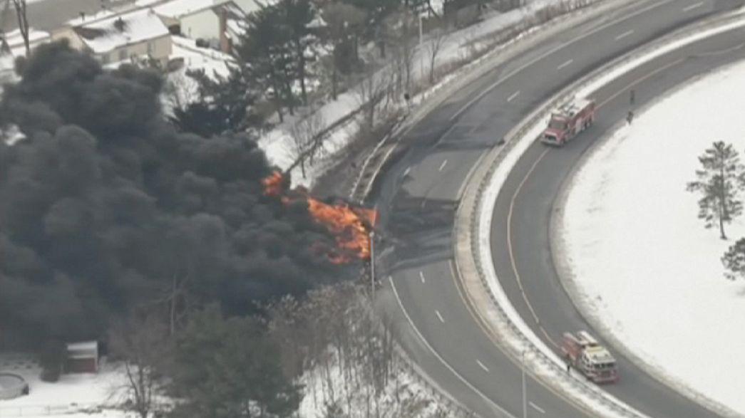 Tartálykocsi lángolt New Jersey-ben