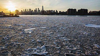 Polar opposites: Sunset over a frozen New York