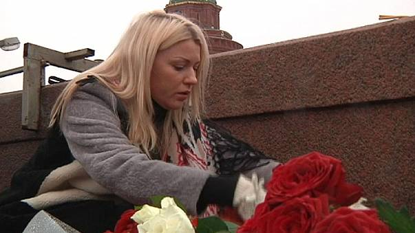 Floral tributes left at scene of Nemtsov murder in Moscow