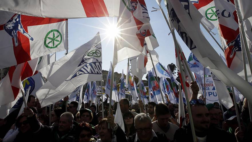 La Liga Norte desembarca en Roma para protestar contra el Gobierno de Matteo Renzi