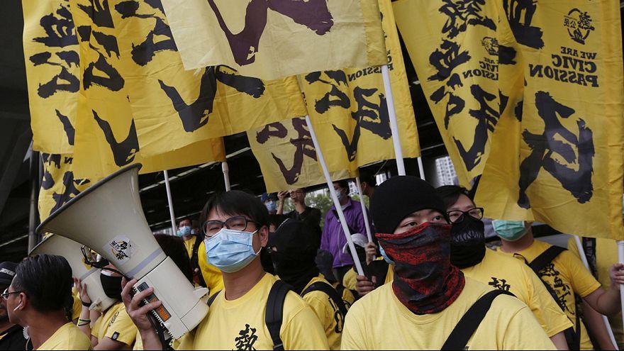 Manifestation contre les commerçants chinois à Hong Kong