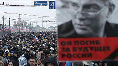 Multitudinaria marcha en Moscú en memoria de Boris Nemtsov