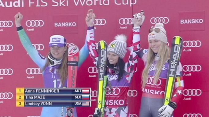 فينينغر تتألق في منافسات كأس العالم للتزلج على المنحدرات الجليدية