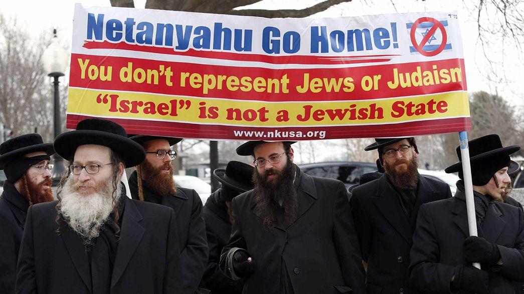 Proteste davanti a Capitol Hill per l'intervento di Netanyahu