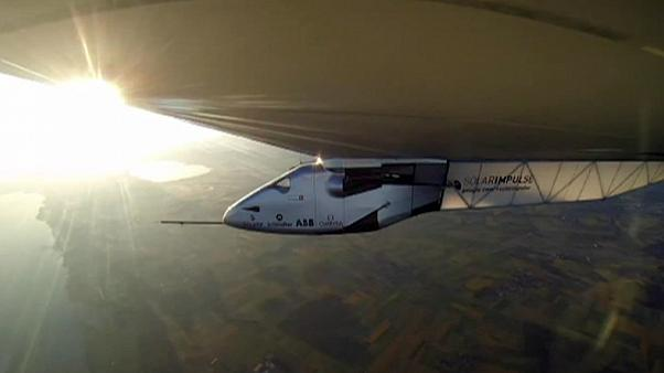 Solar powered plane grounded by sandstorms
