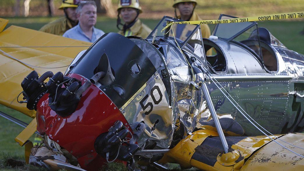 """""""Battered but OK"""" - Harrison Ford recovers after crashing vintage plane"""