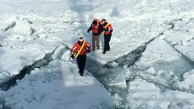 Man rescued after attempting to walk from US to Canada across frozen lake
