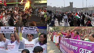 النساء يطالبن بحقوقهن في اليوم العالمي للمرأة