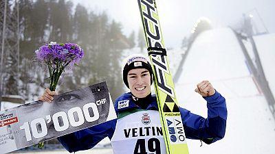 Taça do Mundo de saltos de esqui: Kraft bate Prevc e aproxima-se do primeiro lugar