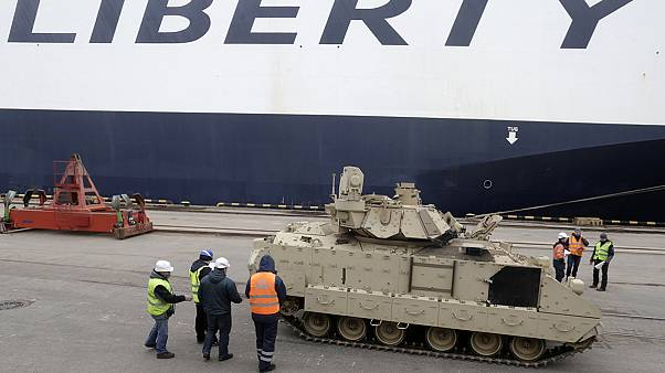 US tanks and military equipment arrives in Latvia for training mission