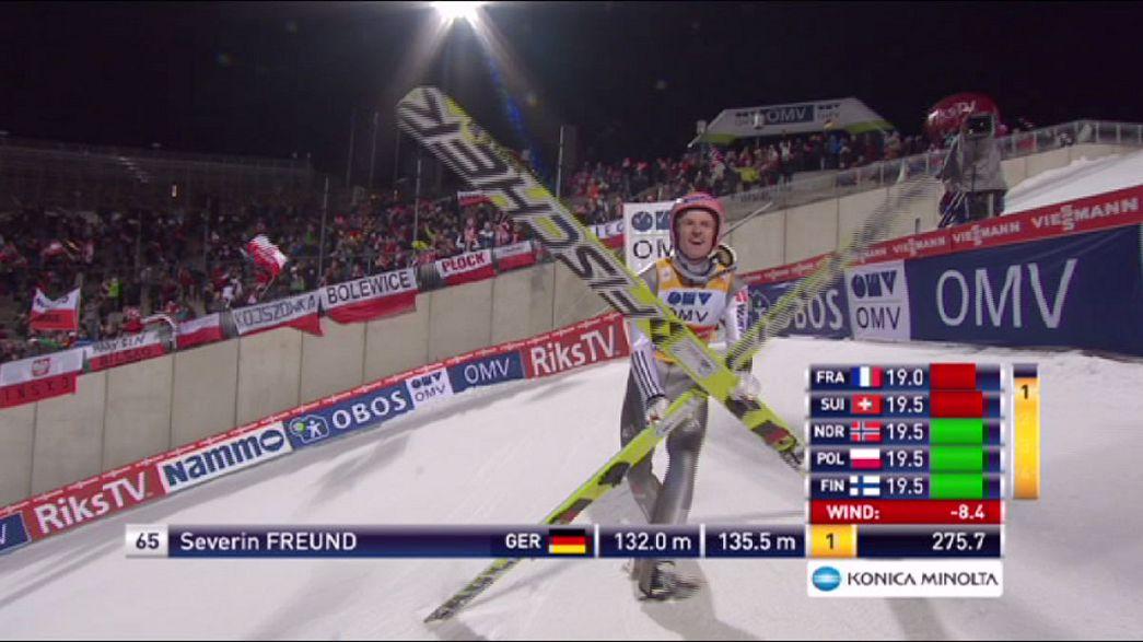 Severin Freund makes it three-in-a-row on the Holmenkollen ski jump in Oslo