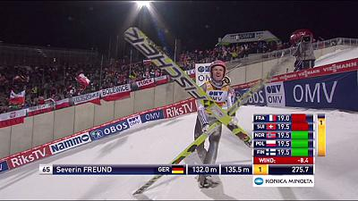 Severin Freund makes it three-in-a-row on the Holmenkollen ski jump in Oslo