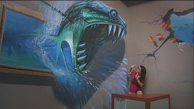 Visitors become part of the painting at 3D art museum in Manila