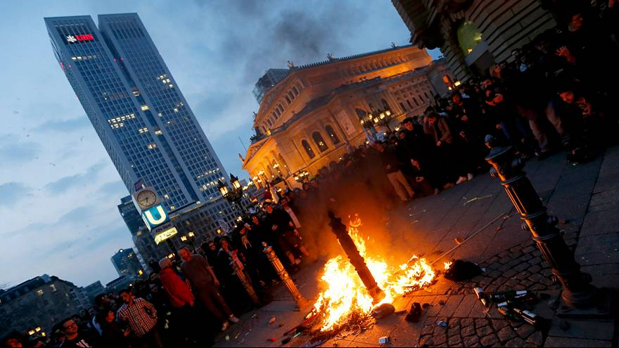 Anti-austerity protestors clash with police at new ECB hq in Frankfurt
