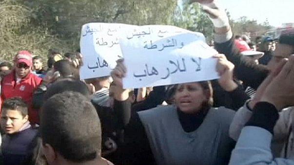 Manifestación contra el terrorismo islamista en Túnez