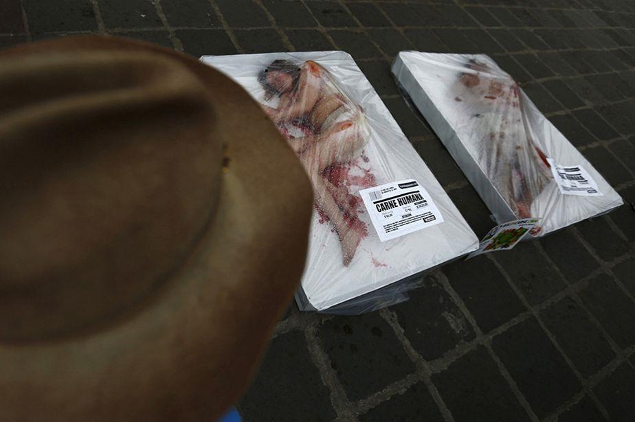 Protestation choc des végétariens à Mexico