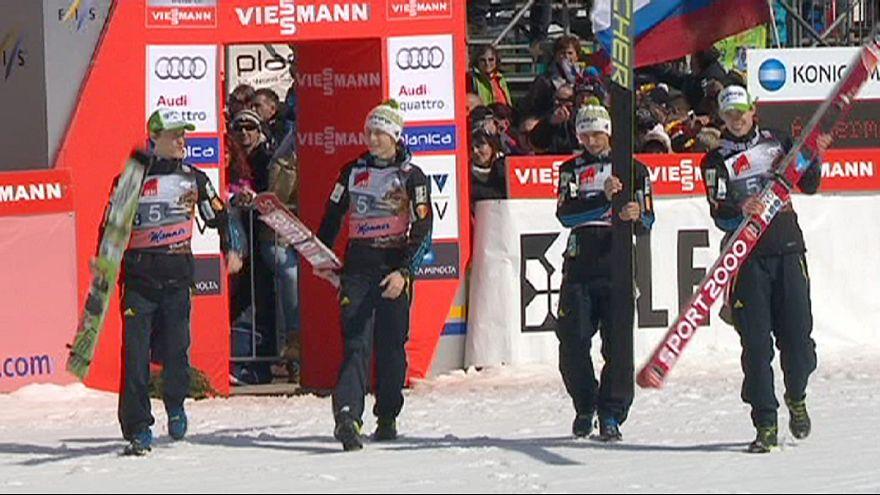Slovenia win team ski-jumping title