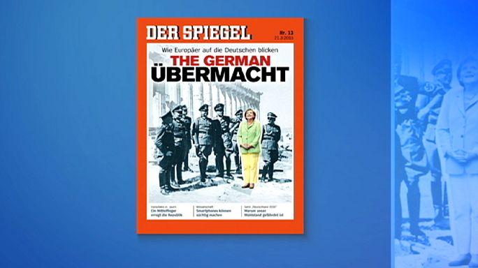 Der Spiegel Merkel'i Nazi subaylarıyla birlikte Atina'ya taşıdı