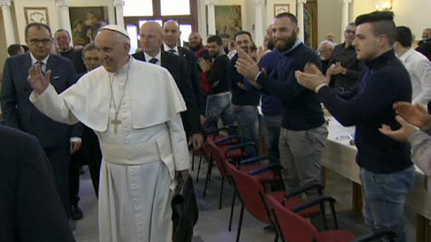 Pope Francis has meal with prisoners during Naples visit