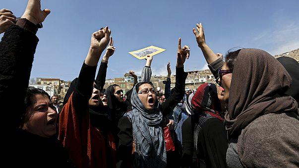 Afgan kadınlarının protestosu
